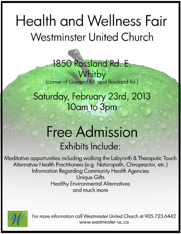 Poster: Health & Wellness Fair, Whitby, Feb. 23, 2013