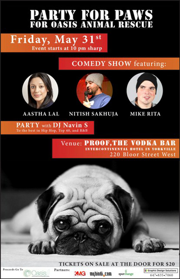Party for Paws Comedy event information flyer