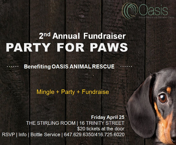 PARTY FOR PAWS - FLYER 2014. Proceeds benefit Oasis Animal Rescue